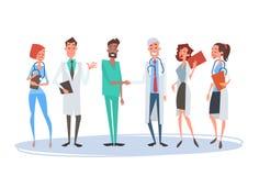 Grupowe Medial lekarki ręki potrząśnięcia drużyny kliniki Szpitalne royalty ilustracja