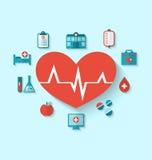 Grupowe nowożytne płaskie ikony medyczni elementy i przedmioty Zdjęcia Royalty Free
