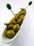 Grupowe oliwki na talerzu Fotografia Stock