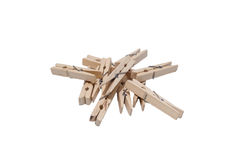 Grupowego clothespin odosobniony biały tło Fotografia Stock