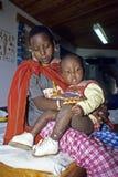 Grupowego portreta Maasai Kenijska matka i córka Obrazy Stock