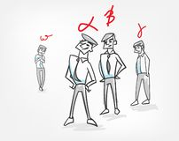 Grupowej hierarchii psychologii pojęcia pracy zespołowej nakreślenia wektorowy ilustracyjny doodle ilustracja wektor
