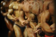 Grupowi atlet bodybuilders pozuje najwięcej mięśniowych bodybuilding rywalizacj fotografia stock
