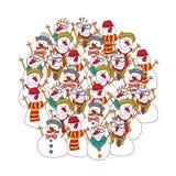 Grupowi bałwany na białej moda modnisia zimie ilustracji