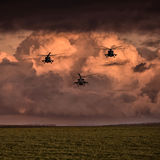 Grupowi bojowi helikoptery, Mi-24, Mi-8 na tle chmury Obrazy Royalty Free