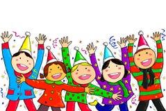 Grupowi dzieci Przyprawiają ` s powitań Szczęśliwego nowego roku Wesoło boże narodzenia Zdjęcie Stock