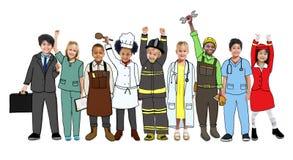 Grupowi dzieci Stoi różnica munduru pojęcie ilustracji