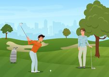 Grupowi golfistów przyjaciół charaktery na zielonym tle również zwrócić corel ilustracji wektora ilustracji