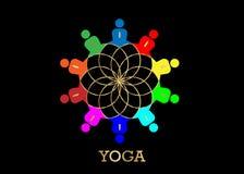 Grupowi ludzie joga Pracownianego logo i złocisty Lotosowy kwiat Emblemat ikona, pojęcie grupa ludzi spotkania współpracy wielka  ilustracja wektor