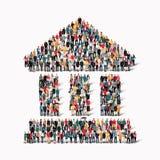 Grupowi ludzie kształtują antycznego budynek ilustracji