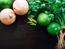 Grupowi organicznie świezi kolendery, cilantro, cebula, wapno i chil, Zdjęcia Stock
