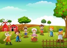 Grupowi rolnicy i ogrodniczka przy gospodarstwem rolnym ilustracja wektor