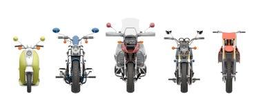 Grupowy motocyklu frontowego widoku 3d rendering Obrazy Stock