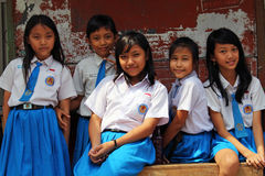 Grupowy portret umundurowane szkolne dziewczyny Zdjęcia Stock