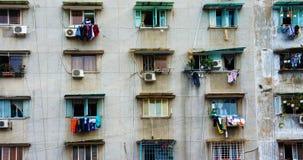 Grupowy stary okno, Ho Chi Minh budynek mieszkaniowy Obraz Stock