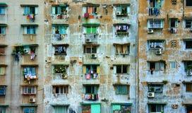 Grupowy stary okno, Ho Chi Minh budynek mieszkaniowy Fotografia Royalty Free