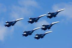 Grupowy su-27 przy pokazem lotniczym Zdjęcia Stock