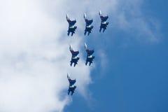 Grupowy su-27 przy pokazem lotniczym Zdjęcia Royalty Free