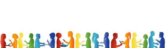 Grupowy współpraca i sukces Poj?cie praca zespo?owa Wielki grupa ludzi opowiada? Dyskusja między ludzie biznesu Spotkania organi ilustracja wektor
