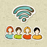 Grupowych środek interakcj ogólnospołeczni ludzie RSS Obrazy Royalty Free