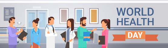 Grupowych Medial lekarek Drużynowych klinik Światowych zdrowie dnia Szpitalny pojęcie ilustracja wektor