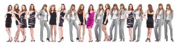 grupp över unga vita kvinnor Royaltyfri Fotografi