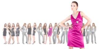 grupp över unga vita kvinnor Royaltyfria Bilder