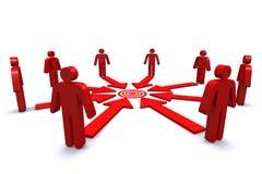 Grupp av affärsarbetare med den röda målfläcken Royaltyfri Fotografi