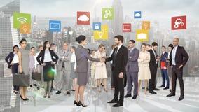 Grupp av affärsfolk möte stock illustrationer