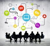 Grupp av affärsfolk med global affär Arkivfoton