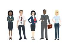 Grupp av affärsfolk av olika lopp i dräkter royaltyfri illustrationer