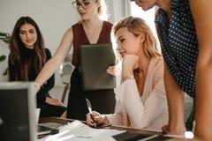 Grupp av affärskvinnor som diskuterar nytt projekt fotografering för bildbyråer