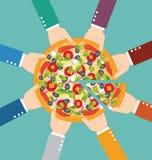 Grupp av affärsmannen som tillsammans äter pizza stock illustrationer