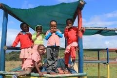 Grupp av afrikanska barn som utomhus spelar i en lekplats, Swaziland, sydliga Afrika Royaltyfri Foto