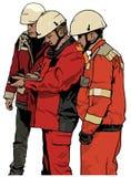 Grupp av arbetare stock illustrationer