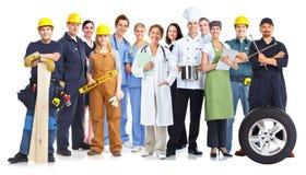 Grupp av arbetarfolk