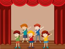 Grupp av att dansa för barn stock illustrationer