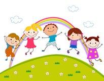 Grupp av att hoppa för barn Arkivbilder