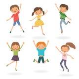 Grupp av att hoppa för barn Arkivbild