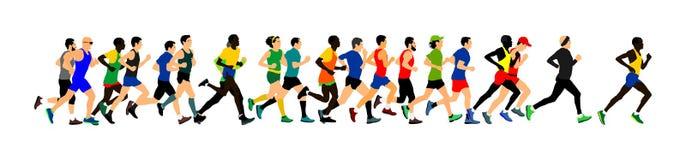 Grupp av att köra för maratonracerbilar Maratonfolkvektor vektor illustrationer