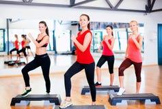 Grupp av att le folk som gör aerobics Royaltyfri Fotografi