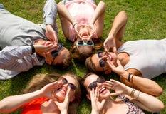 Grupp av att le vänner som utomhus ligger på gräs Arkivfoton