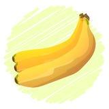 Grupp av bananer på en grön bakgrundsrunda Fotografering för Bildbyråer