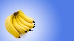 Grupp av bananer som isoleras på blå bakgrund Arkivfoton