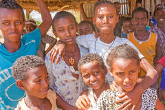 Grupp av barn i Etiopien Royaltyfria Bilder