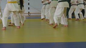 Grupp av barn i kimonoanseende på tatami på kampsportutbildning arkivfilmer