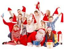 Grupp av barn med Santa Claus. royaltyfri foto
