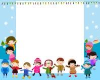 Grupp av barn och ramen Arkivfoton