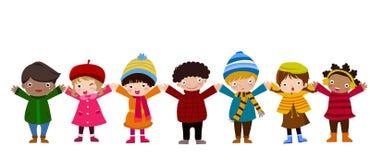 Grupp av barn och vintern Arkivfoto