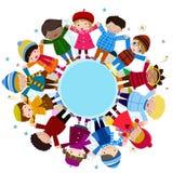 Grupp av barn och vintern Arkivbilder